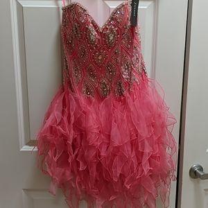 Jovani Coral/Silver Mini Formal Dress, Sz 6